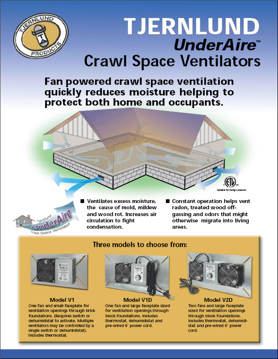 Crawl Space Vent Fans : Underaire™ crawl space ventilation fans dryer boosting